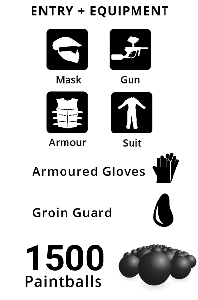 Entry + Equipment, Armoured Gloves, Groin Guard, 2000 Paintballs