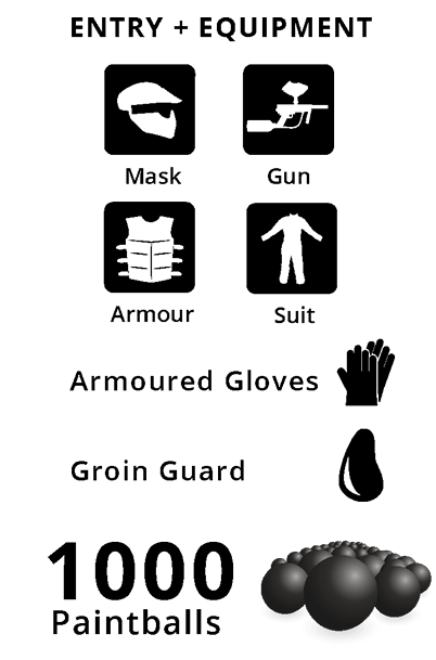 Entry + Equipment, Armoured Gloves, Groin Guard, 1000 Paintballs